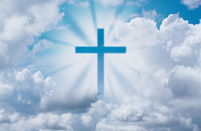 Christian Cross in Clouds